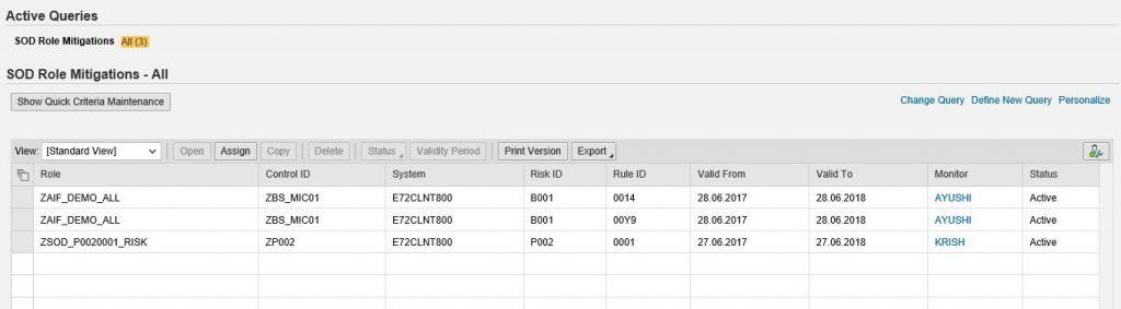 SAP GRC Mitigation Control